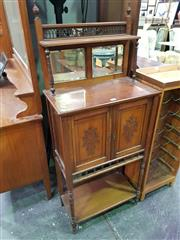 Sale 8657 - Lot 1043 - 150Late Victorian Carved Walnut Parlour Cabinet, with pierced rail, shelf & mirror back, above two carved panel doors & open shelf o