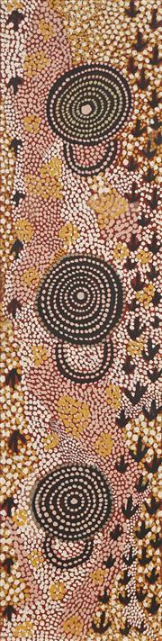 Sale 8741A - Lot 56 - Johnny Warangkula Tjupurrula (c1932 - 2001) - Wuruwarrulpa (Emu Dreaming), 1978 90.5 x 22.5cm
