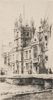 Sale 8794A - Lot 5080 - John Barclay Godson (1882 - 1957) - Central Tower, Sydney University 23.5 x 12.5cm