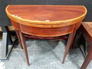 Sale 8848 - Lot 1053 - George III Mahogany and Satinwood Banded Card Table, of demi-lune form & tapering legs
