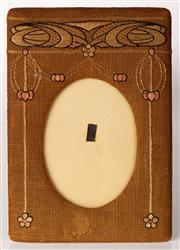 Sale 9048A - Lot 54 - A hessian and embroided photo frame in the art nouveau taste, 35cm x 25cm