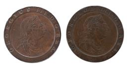 Sale 9130E - Lot 17 - Two George III British cartwheel pennies dated 1797, Diameter 4cm