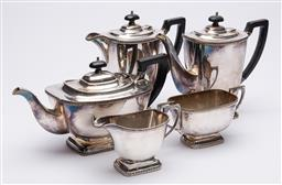 Sale 9170H - Lot 15 - A five piece Hecworth silver plated tea service, tallest height 21cm