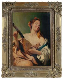 Sale 9190H - Lot 9 - Artist unknown, early European school, The lute player, oil on canvas, 70cm x 50cm, signed lower right