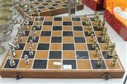 Sale 8327 - Lot 53 - Chess Set With Brass and Chrome Pieces