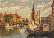 Sale 8656 - Lot 582 - Georg Valdemar Gundorff (1876 - 1925) - Copenhagen Canal (Vildersplades) 65 x 92cm