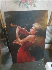 Sale 8650 - Lot 2067 - Artist Unknown Girl in Red Dress Playing Violin, Oil, 91x61cm