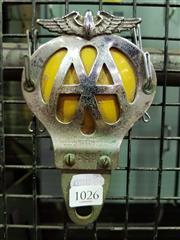 Sale 8661 - Lot 1026 - Nickle Plate AA Motoring Badge