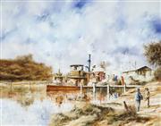 Sale 9021 - Lot 556 - John Guy (1944 - 2000) - Busy on the Murray 39.5 x 50 cm (frame: 60 x 70 x 5 cm)
