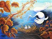 Sale 9047A - Lot 5001 - Ronald Chambers - Crane & Nest 90.5 x 120.5 cm (frame: 99 x 129 x 3 cm)