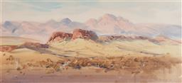 Sale 9141 - Lot 504 - John Borrack (1933 - ) Evening Glow, Mount Giles, NT, 1989 watercolour 25.5 x 56.5 cm (frame: 47 x 78 x 3 cm) signed lower right
