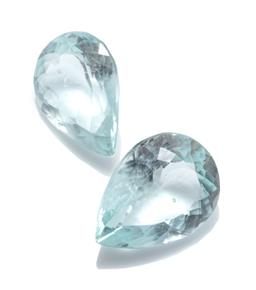 Sale 9246J - Lot 344 - TWO UNSET AQUAMARINES; 2 pear cut totalling 12.75ct, size 16.02 x 11.70 x 7.39mm and 15.20 x 11.05 x 6.97mm.