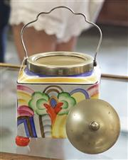 Sale 8319 - Lot 328 - Staffordshire pottery biscuit barrel of panel form decorated with pastel abstract designs AF