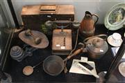 Sale 8327 - Lot 66 - Timber Ammo Box & Other Vintage Wares incl Phone & Scales