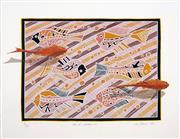 Sale 8565 - Lot 543 - Lin Onus (1948 - 1996) - Koi at Sankei-en, 1989 48 x 77.5cm