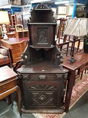 Sale 8700 - Lot 1064 - Carved Oak Corner Cabinet (H: 165 W: 72 D: 52cm)