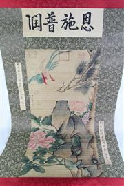 Sale 8877 - Lot 30 - A Chinese Scroll Featuring Flowers and Birds