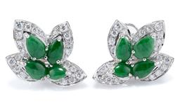 Sale 9037 - Lot 394 - A PAIR OF 18CT WHITE GOLD JADE AND DIAMOND EARRINGS; leaf designs each set with 4 pear shape cabochon bright green jadeite jades wit...