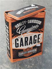 Sale 9051 - Lot 1099 - Reproduction Harley-Davidson Garage Lidded Tin