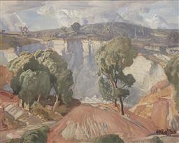 Sale 9123J - Lot 9 - Hans Heysen Landscape watercolour 40x50cm signed & dated 1916 lower right.