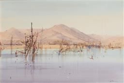Sale 9141 - Lot 503 - John Borrack (1933 - ) Evening at Bonny Doon watercolour 36 x 64 cm (frame: 58 x 75 x 3 cm) signed lower right