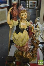 Sale 8405 - Lot 43 - Capodimonte Figure with Flowers (AF)