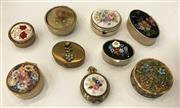 Sale 8436A - Lot 23 - A group of nine assorted floral pill boxes including hand painted and millefiori.