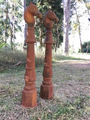 Sale 8579 - Lot 48 - A pair of cast iron horse hitching posts with some surface rust H 106cm