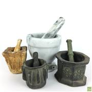 Sale 8589R - Lot 98 - Collection of Mortar and Pestles, One Marble. (H: 10cm)
