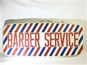 Sale 8600A - Lot 5 - Vintage plastic barber service sign/display, H 56 x L 124cm.
