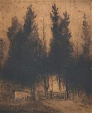 Sale 8683 - Lot 507 - Elioth Gruner (1882 - 1939) - The Trees 16 x 13.5cm