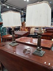 Sale 8814 - Lot 1038 - Pair of 1960s/70s Brass Table Lamps, of square profiled form & original pleated shades