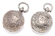Sale 9074 - Lot 386 - TWO ANTIQUE SILVER SOVEREIGN CASES; each finely engraved with a monogramed cartouche, hallmarked Birmingham, 1906, possibly Charles...