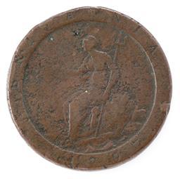 Sale 9130E - Lot 35 - A George III British penny dated 1797, worn, Diameter 3.5cm
