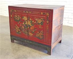Sale 9137 - Lot 1081 - Painted timber Nepalese style 2 door chest (h82 x w105 x d57cm