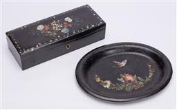 Sale 9190E - Lot 32 - A mother of pearl inlaid floral lift top box together with an oval dish