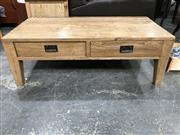 Sale 8809 - Lot 1023 - Natural Oak Coffee Table with Two Drawers