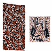Sale 8992 - Lot 565 - Boliny & Bulunu Munungurr (2 works) - Nuwayak & Moeity Dhuwa 18 x 40.5 cm ; 25 x 20 cm