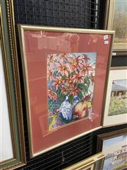 Sale 9028 - Lot 2041 - D Morris Red Flowers, Pomegranate and Chinese Vasewatercolour 51 x 41cm (frame) signed