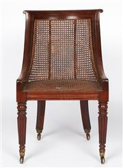 Sale 9087H - Lot 27 - A Fine late Georgian Mahogany chair with Antique cane back and seat and original brass casters. Cane to back in good condition, some...