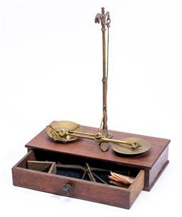 Sale 9130E - Lot 32 - A cased set of portable scale Height 32cm Width 26cm