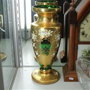 Sale 8379 - Lot 64 - Bohemian Gilt Green Glass Vase