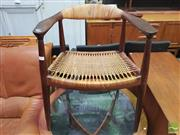 Sale 8451 - Lot 1017 - Hans Wagner Carver w Rattan Seat & Back