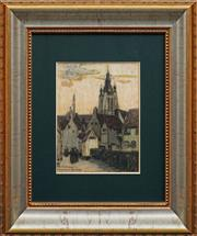 Sale 8668 - Lot 2009 - Artist Unknown - Begijnhof in Kortrijk, Belgium, 1917 , pastel, 32 x 24cm, s/d.l.r -