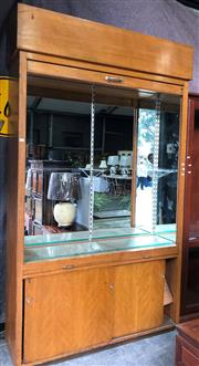 Sale 8741 - Lot 1065 - Large Tambour Front Drinks Cabinet with Mirrored Interior