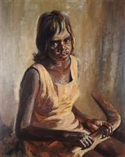 Sale 8813 - Lot 580 - Reginald Earl (Reg) Campbell (1923 - 2008) - Portrait Agnes Jigalong 60 x 75cm