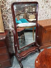 Sale 8831 - Lot 1015 - Victorian Flame Mahogany Cheval Mirror