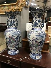 Sale 8893 - Lot 1055 - A Pair of Tall Crackle Glazed Twin Handle Vases with Fluted Rims, Decorated with Lady Figural Motif (H 60cm, One has been repaired)