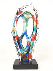 Sale 8995H - Lot 71 - An abstract art glass sculpture on rectangular base, height 51cm x width 27cm