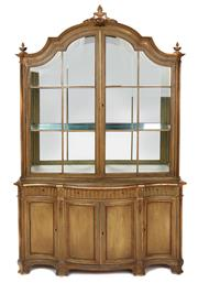 Sale 9087H - Lot 61 - A superb quality European vintage display cabinet, with excellent aged painted finish. 2.15m height, 1.35m width, 48cm depth